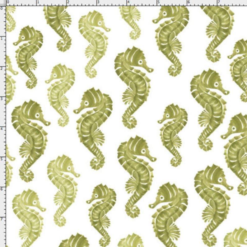 47a900b6d NEW Loralie Designs Lazy Beach Seahorses Green fabric 1 yard
