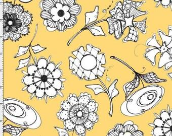Loralie Designs Yellow Paper Posies Fabric - 1 Yard
