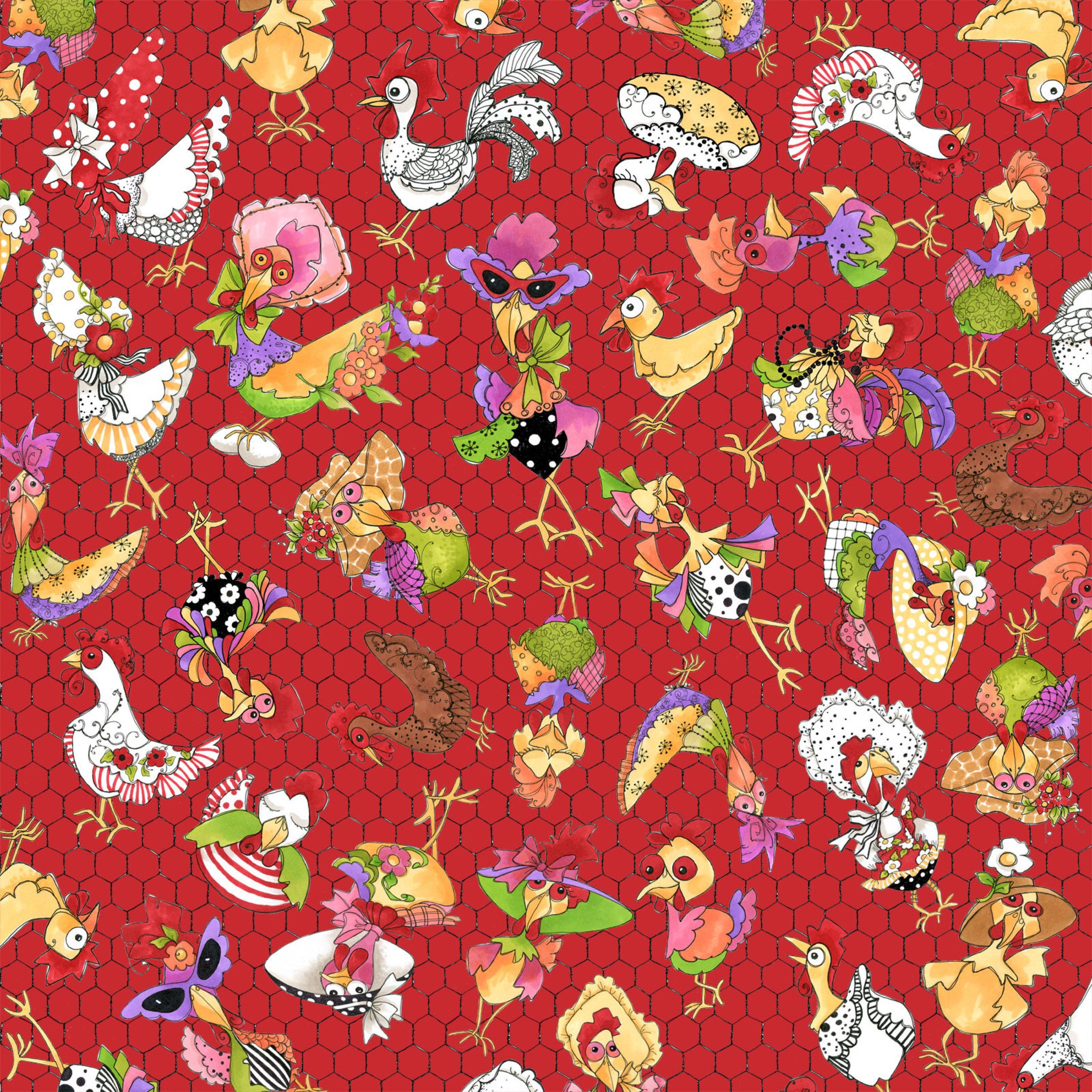 NEW Loralie Designs Chicken Chique Coopers White Red fabric