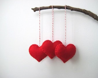 Felt heart ornaments Valentine's Day Decor Red Heart Eco Felt Ornament Christmas Tree Ornament  Holiday Decoration