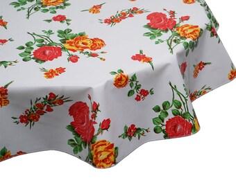 Diameter 68-170 cm ROUND Handmade Tablecloth ROSES