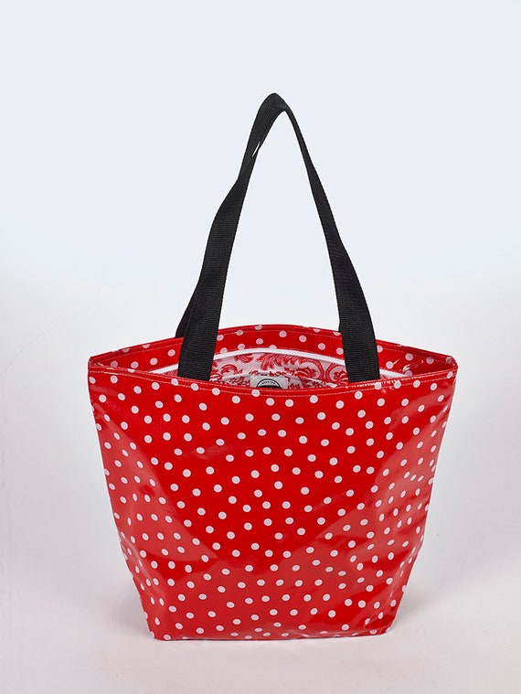 Freckled Sage Oilcloth Market Bag Toile Red
