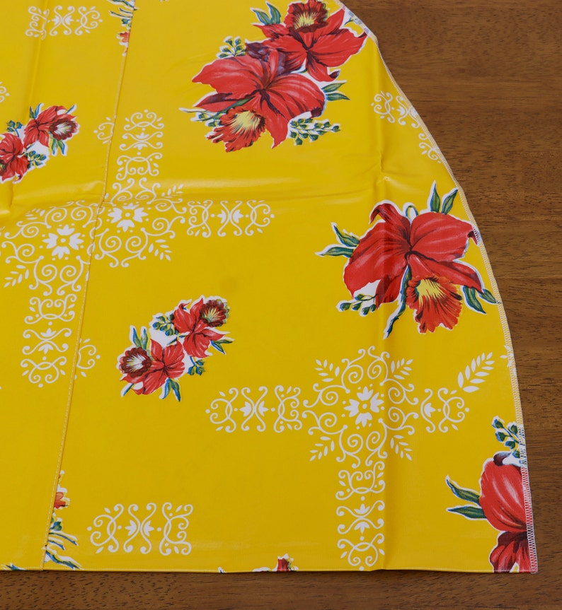 Round Orchid Yellow Oilcloth Tablecloth