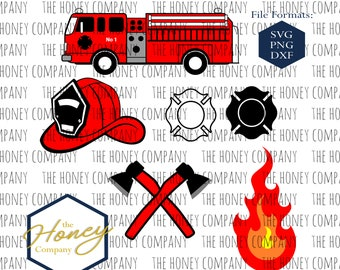04f01965bd4 Firefighter SVG PNG DXF Truck Fire Axe Helmet Bundle Instant Download  Silhouette Cricut Cut File Vector File
