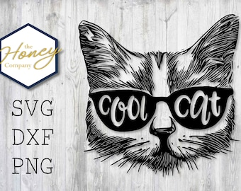 52083f83cd Cool Cat SVG PNG DXF Glasses Funny Smart Kitty Instant Download Silhouette  Cricut Cut File Vector File