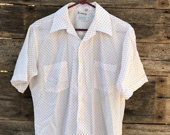 Vintage Tarleton Red Polka Dot Button Down Polyester Blend Shirt Size M