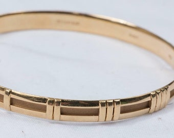 7a11a5ac2 Vintage Tiffany 18K Yellow Gold Atlas Roman Numeral Number Bangle Bracelet  Mint