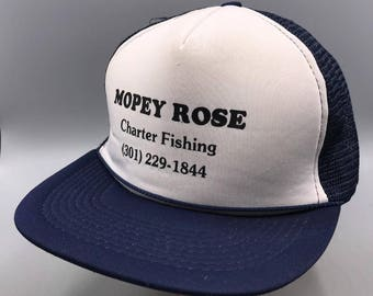 ab9a76d76bfef Vintage Mopey Rose Charter Fishing Mesh Adjustable Snapback Trucker Hat Cap