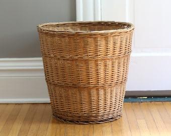 Wicker Laundry Basket, Vintage Basket, Large Basket, Old Storage Basket