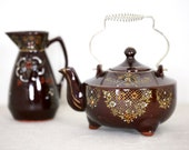 MORIAGE Japanese Teapot Brown Glazed Redware Iridescent Raised Enamel, brown Japanese teapot with creamer at Kate 39 s Vintage Market