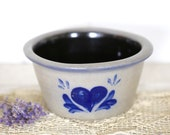 Rowe pottery pot with blue heart at Kate 39 s Vintage Market