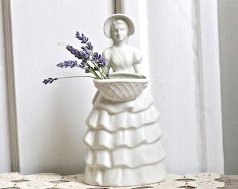 White vase victorian girl vase