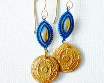 Greek Inspired Royal Blue Patina Coin Brass Dangle Earrings, ELO16923: Lazuli Earrings
