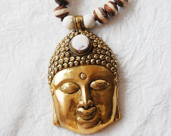 Solid Brass Buddha Head Pendant and White Magnesite Agate Adjustable Zen Inspired Yoga Necklace, ZLO51718 Big Buddha Ivory