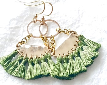 Green Fringe Semi Circle Crescent Dangle Boho Chic Earrings, The Fern Earrings