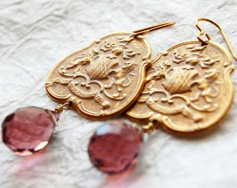 White Washed Brass Shield and Mauve Briolette Drop Earrings, ELO16916: Quartier