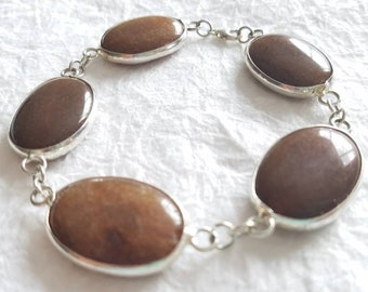 Brown Smooth Jade Modular LargeOval Sterling Silver Bezel Link Bracelet, The Chocolate Orchid Bracelet