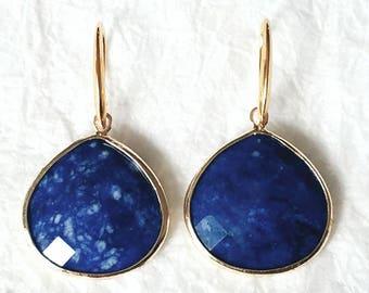 Sodalite Gold Vermeil Gold Bezel Large Briolette Drop Earrings, MB10112: Majestic Sky