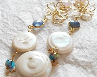 White Freshwater Coin Pearl 16kt Gold Plated Flower Frame Motif  Pink Yellow Blue Chalcedony Green Jade Long Necklace, The Camellia Necklace