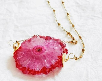 Fuschia Stalactite Slice Dainty Gold Satellite Chain Necklace, The Peony Necklace