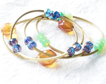 Solid Brass Tube Czech Beads Faceted Glass Multibracelet Stretch Bracelet, Daisies & Poms Bracelet
