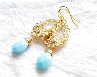 14kt Gold Plated Abstract Oval Nest Motif Earrings with Milky Robin Egg Blue Teardrop Briolette Drops, The Nest Earrings