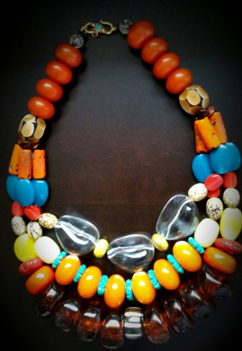 The Apache Three Strand Multistrand Statement Necklace