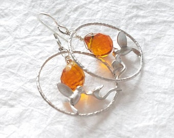 Matte Silver Plated Amber Color Crystal Briolette Hummingbird Earrings, Sweet Nectar Silver