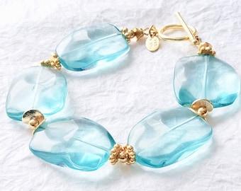 Aqua Blue Quartz Stone and Vermeil Chunky Statement Bracelet, Himalayan blue poppy bracelet