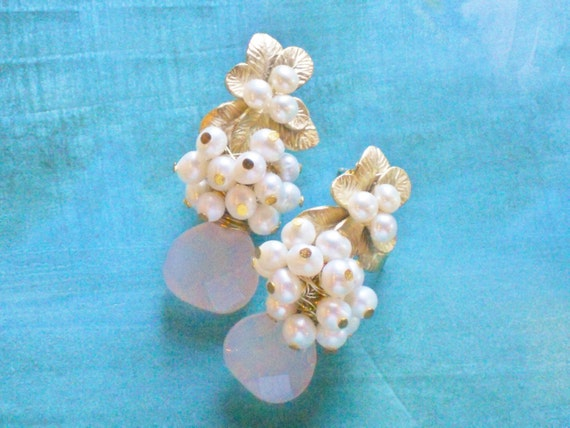 Mystic Amethyst Chalcedony Briolette Gold Swan Post Earrings Mystic Swan Earrings