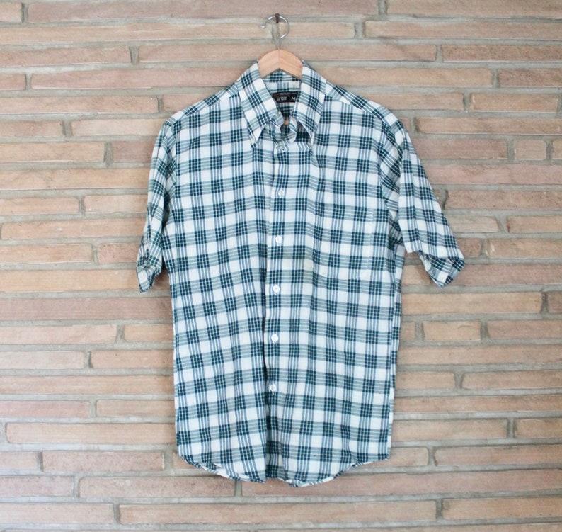Vintage 1960s Dark Green and White Plaid Men/'s Short Sleeve Button-Down Shirt Size Medium