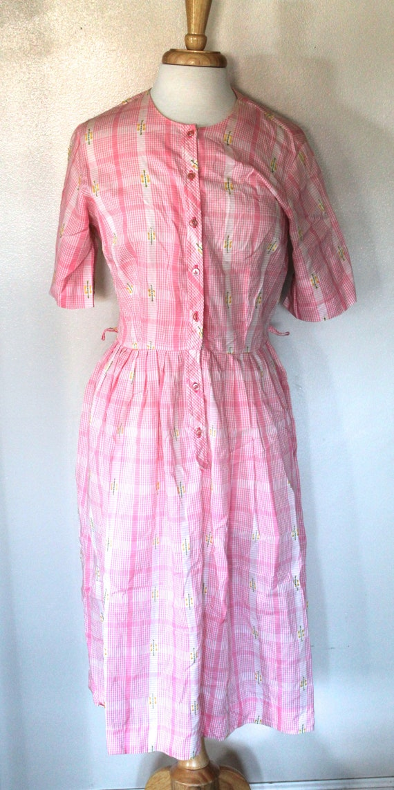 Vintage 1950's-60's Pink Gingham Pleated Dress wit