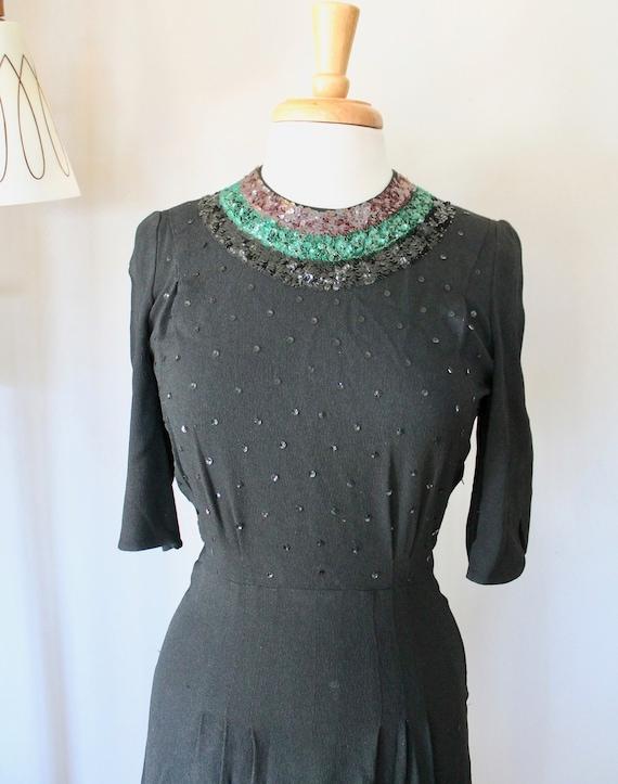 Vintage 1930's/1940's Black Crepe 3/4 Sleeve Dress