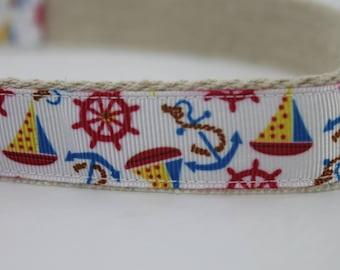 Sailboats hemp dog collar or leash