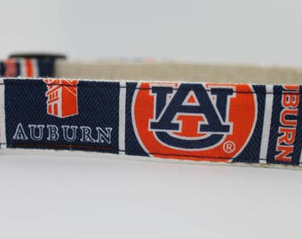 Auburn Tigers hemp dog collar or leash