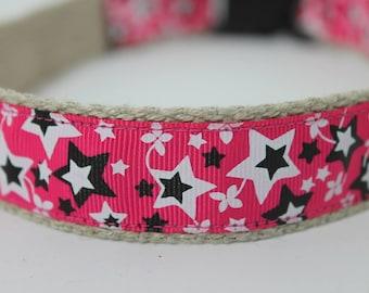Pink Starts hemp dog collar or leash