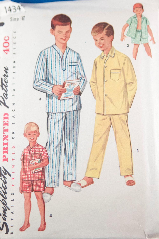 Patrón de niños vintage de los años 1950 pijamas de chicos   Etsy