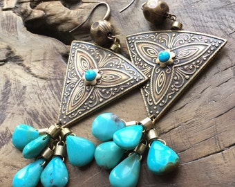 Arizona turquoise earrings, Bohemian triangle & teardrop earrings, Sleeping Beauty, Sky blue