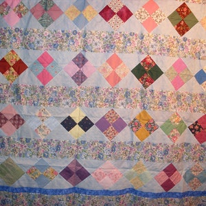 Nine Patch Star Quilt Top and Backing 87x109 Free Shipping and discount price