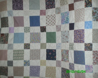 Squares and Squares quilt top, backing and border.  Twin size 74 by 86 inches