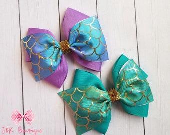 Iridescent BlueGreen Mermaid SWIM Bow on Nylon Headband or Alligator Clip Baby Toddler Kids