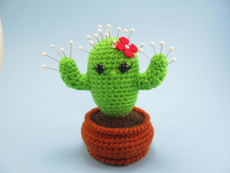 Cactus Crochet Pincushion Pattern Cactus In Flowerpot Etsy