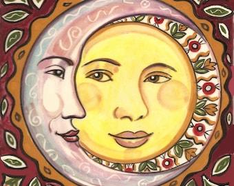 Sun and Moon Ceramic Tile Plaque
