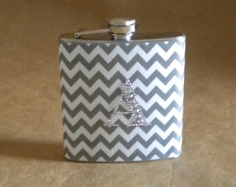 Personalized Gift Flask Chevron Print in Gray and White 6 ounce Gift Flask with ANY Rhinestone Initial KR2D 6563