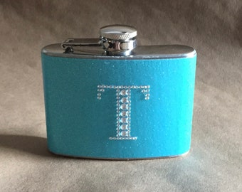 Bridal Garter Flask Party Favors on SALE Swimming Pool Blue or Any Color Sparkly 4 oz. Flask with ANY Rhinestone Initial