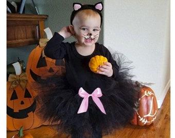 Toddler Cat Costume,Complete 5 piece Cat Costume,Toddler Halloween costume,Kitty Costume,Toddler Black Cat Costume,Black Kitty Cat Costume