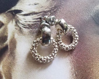 Vintage Signed Monet Dainty Silvertone Pierced Earrings