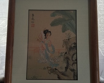 Vintage Silk Korean Girl  Zen Painting Feminine