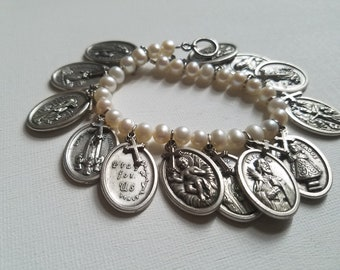 Made in Italy Natural Pearls and Italian Silver Saints Vintage Bracelet Gothic OOAK
