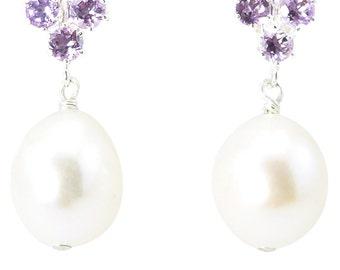 Femme Boucle Oreille Pendentif Bijoux Cristal Améthyste Goutte Eau Accessoire NF